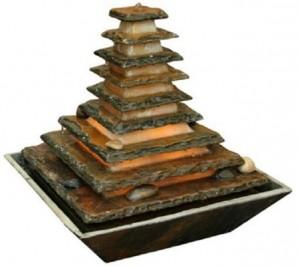 Zimmerbrunnen Pyramide 40   Feng Shui Schieferbrunnen inkl. Beleuchtung