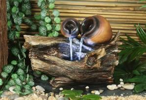 Zimmerbrunnen Liu 24cm Polystone Brunnen inkl. Pumpe und LED