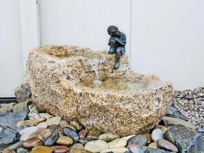 Wasserspiel SET Wasserfall Shitou L60cm Doppeltrog Granit Gartenbrunnen