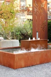 Wasserspiel SET Cortenstahlbrunnen Neptun L260/130cm Edelrost Gartenbrunnen