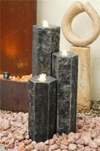 Wasserspiel SET 3er Säulen Everest 100cm Granit Gartenbrunnen inkl. Pumpe
