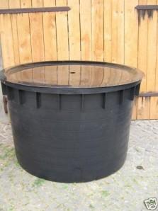PE Becken mit GFK Deckel Ø 80 cm 250 Liter für Quellsteine, Wasserspiele und Zierbrunnen