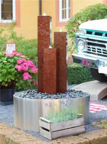 Wasserspiel SET Cordon 3er Säulen 130 cm Cortenstahl Gartenbrunnen Edelrost Design