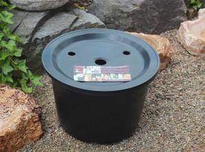 PE Becken mit GFK Deckel Ø 45 cm 30l für Quellsteine Wasserspiele Zierbrunnen