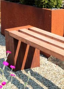 Gartenbank Cordon 140 Sitzbank aus Cortenstahl Edelrost-Design