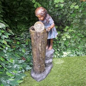 Gartenbrunnen Die Zauberin 83cm Polystone Wasserspiel inkl. dreh. Glaskugel