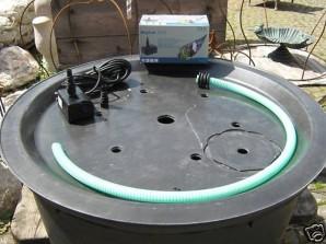 PE Becken mit GFK Deckel Ø120x35 | Pumpe Oase Aquarius Universal 1500 Komplettset