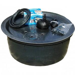Komplett Set PE Becken mit GFK Deckel Ø90x35 | Pumpe PondoVario 1000 Brunnen bauen