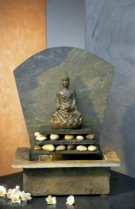 AUSSTELLUNGSSTÜCK! Zimmerbrunnen Sala 43 Feng-Shui Schieferbrunnen inkl. Beleuchtung und Buddha