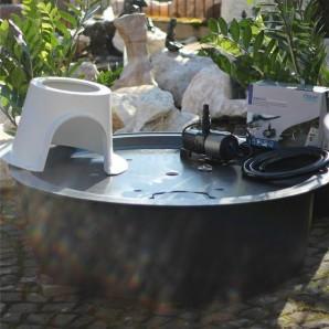 PE Becken mit GFK Deckel Ø 120 x 35 | Pumpe Oase Aquarius Universal Eco 3000