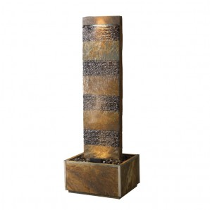 Zimmerbrunnen Bando 180 LEX | Feng Shui Schieferbrunnen Wasserwand inkl. Beleuchtung