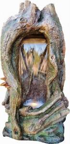 Sino 102cm Polystone Wasserfall Gartenbrunnen inkl. Pumpe und LED