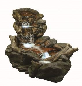 Zierbrunnen Kingzou | Polystone Wasserfall Bachlauf inkl. Pumpe und LED Beleuchtung
