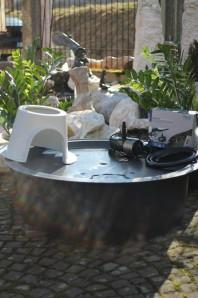PE Becken mit GFK Deckel Ø120x35 | Pumpe Oase Aquarius Universal Eco 3000