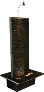 Zimmerbrunnen Rido Black 130 | Feng Shui Schiefer Brunnen Wasserwand inkl. Beleuchtung