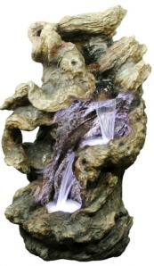 Zierbrunnen Shipo | Polystone Wasserfall inkl. Pumpe und LED Beleuchtung