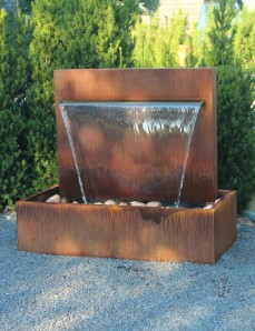 Wasserspiel Cortenstahl Wasserfall 90 im Edelrost Design inkl. Pumpe