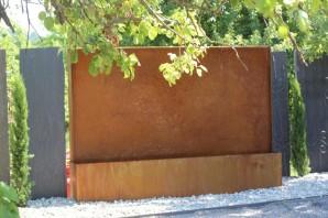 Wasserspiel SET: Cortenstahl Edel Rost L300 Gigant-Wasserwand inkl. Pumpe und Zubehör