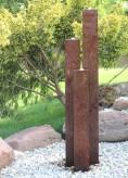 Wasserspiel SET Cortenstahl 3er Säulen 160 Gartenbrunnen im Edelrost Design