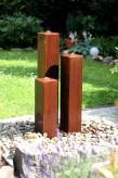 Wasserspiel SET Cortenstahl 3er Säulen 100 Springbrunnen Zierbrunnen