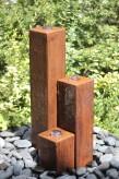 Wasserspiel SET Cortenstahl 3er Säulen 60 Springbrunnen Edelrost Design