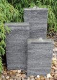 Wasserspiel SET 3er Säulen Lao Granit anthrazit inkl. Pumpe Becken