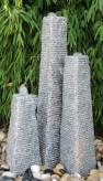 Wasserspiel SET 3er Säulen Canyu Granit grau gestuft Gartenbrunnen selbst bauen