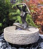 Wasserspiel kpl. SET: Quellstein Granit Quellrad inkl. Pumpe | Becken