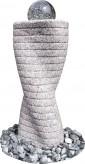 Wasserspiel kpl.SET: Quellstein Granit ovale Säule inkl. Pumpe | Becken