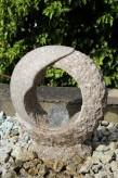 Wasserspiel SET Mond Quellstein Granit rosa Gartenbrunnen mit dreh. Glaskugel