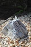 Wasserspiel kpl.SET: Naturstein Quellstein Zebra Marmor weiß inkl. Becken Pumpe