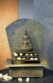 Zimmerbrunnen Sala | Feng-Shui Schieferbrunnen inkl. Beleuchtung und Buddha