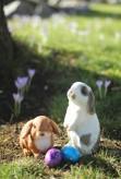 Oster Set Kaninchen Pummel + Hase Hoppel Polystone Gartenfigur Osterhase