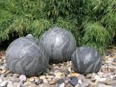 Wasserspiel SET: Quellstein 3er Granit Kugel Cebay inkl. Pumpe Becken Springbrunnen