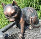 Gartenfigur Katze Mau spielend 22 cm | Teichfigur Polystone
