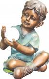 Gartenfigur Teichfigur Polystone Junge Leo 49 cm mit leuchtendem Solarball
