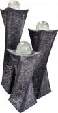Wasserspiel SET Quellstein 3er Granit Säulen Swirl Gartenbrunnen mit dreh. Glaskugeln
