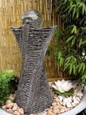 Wasserspiel kpl. SET: Quellstein Swirl Granit anthrazit inkl. Pumpe Becken Glaskugel