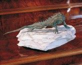 Bronzefigur Gecko L18cm Gartenfigur Bronze Skulptur Rottenecker
