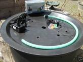 PE Becken mit GFK Deckel Ø90x35 | Pumpe Oase Aquarius Universal 2000 | LED