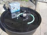 PE Becken mit GFK Deckel Ø90x35 | Pumpe Oase Aquarius Universal Eco 3000 | LED