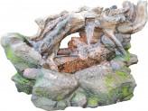 Zierbrunnen Mimiku 46 cm | Polystone Wasserfall Wasserspiel inkl. Pumpe und LED Beleuchtung
