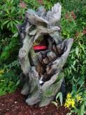 Zierbrunnen Falke am Wasserfall 80cm | Polystone Wasserspiel inkl. Pumpe und LED