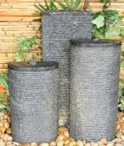 Wasserspiel SET 3er Säulen Lao oval Granit anthrazit inkl. Pumpe Becken