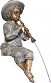 Gartenfigur Flötenspieler 55cm   Wasserspiel Wasserspeier Polystone inkl. Pumpe