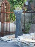 Wasserspiel SET Quellstein Säule Swirl 100cm Gartenbrunnen mit dreh. Glaskugel