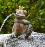 Bronzefigur Froschkönig Albert 11cm Bronze Gartenfigur Wasserspeier Rottenecker
