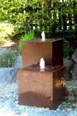 Wasserspiel SET Cortenstahl 2er Kubus 60/100cm Gartenbrunnen Edelrost Design
