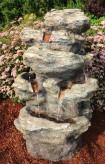 Wasserfall Yevan 100 Polystone 360° Gartenbrunnen Wasserspiel inkl. Pumpe und LED
