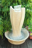 Gartenbrunnen Wudo 80cm | Polystone Wassersäule mit dreh. Glaskugel und LED